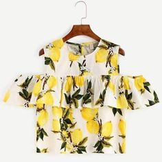SheIn offers White Lemon Print Cold Shoulder Ruffle Top & more to fit your fashionable needs. Plus Size Shirts, Spring Tops, Summer Tops, Lemon Print, Inspiration Mode, Spring Fashion Trends, Hot Outfits, Ruffle Top, Blouses For Women