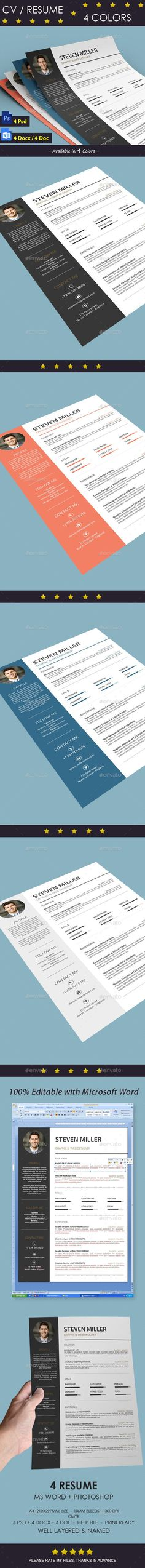 """Buy Resume by thegraphichive on GraphicRiver. Resume """"Resume / CV"""" is the super clean, modern and professional resume cv template to help you land that great job. Simple Resume Format, Resume Format In Word, Resume Format Download, Best Resume Format, Cv Format, Presentation Design Template, Resume Design Template, Creative Resume Templates, Cv Template"""