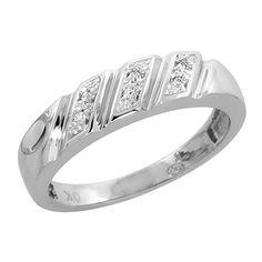 Men/'s Stainless Steel /& 10K White Gold .01ct Genuine Diamond 10mm Band Ring