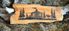 Handcrafted Rustic Primitive Woodburned Sign Cabin in the