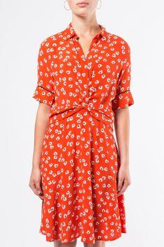 GANNI Silvery Crepe Twist Dress Big Apple Red