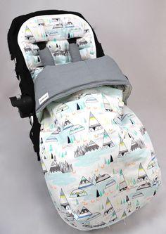 Pram/Stroller Sleeping Bag/Foot Muff Indian Teepees Aqua/Grey