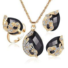 ARINLA Peacock Crystal Pendant Necklace Valentine's Day Jewelry Set Gift Earrings Pendant Necklace Rings
