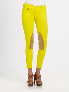 Ralph Lauren Blue Label Palermo Hudson Jodhpur Riding Pants in Yellow (tahiti yellow) | Lyst