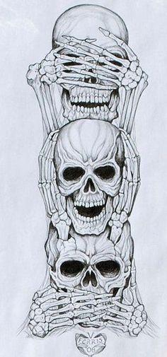 No Evil Art Print by Vernon Farris - No Evil Art Print by Vernon Farris . - No Evil Art Print by Vernon Farris – No Evil Art Print by Vernon Farris – - Tatoo Art, Tattoo Drawings, Tattoo Sketches, Skull Drawings, Totenkopf Tattoos, Evil Art, Neue Tattoos, Geniale Tattoos, Marquesan Tattoos