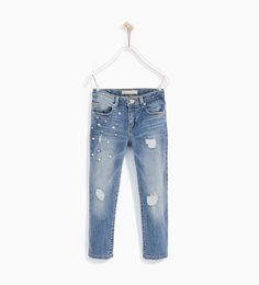 Image 1 of JEANS WITH FAUX PEARLS from Zara