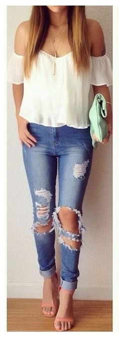 High waisted pants destroyed jeans
