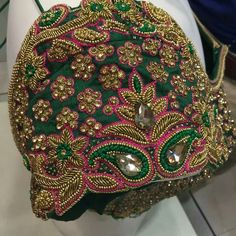 55 Latest Maggam Work Blouse Designs that will inspire you - Wedandbeyond Cutwork Blouse Designs, Wedding Saree Blouse Designs, Pattu Saree Blouse Designs, Fancy Blouse Designs, Golden Blouse Designs, Hand Work Blouse Design, Stylish Blouse Design, Stone Work Blouse, Aari Work Blouse