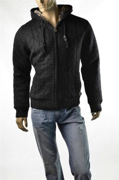Buffalo Sweater Jacket David Bitton Mens Faux Fur Trim Hoodie Coat Sz M NWT #BuffaloDavidBitton #Hoodie