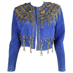 1990's Gianni Versace Beaded Blue Suede Jacket | From a collection of rare vintage jackets at https://www.1stdibs.com/fashion/clothing/jackets/