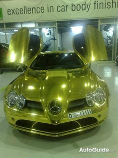 Gold Mercedes SLR McLaren! Deffo a not for the looks category (colour wise)