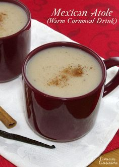 A warming drink perfect for winter, Mexican Atole is full of the comforting flavors of vanilla and cinnamon. | www.curiouscuisiniere.com #SundaySupper