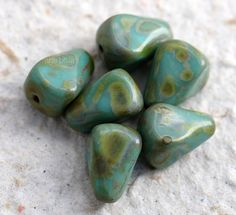 TURQUOISE PEAKS .. NEW 6 Picasso Czech Glass Drop Beads 12x10mm (5466-6) by ArteBellaSurplus on Etsy