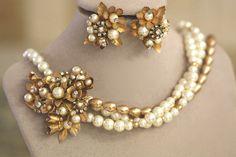 60's Vintage Bridal Necklace, Bronz Pearl necklace, Floral Necklace, Vintage Clip on earrings, Wedding Bridal Set, Something Old