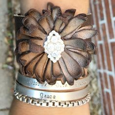 Bronze and chocolate metallic leather cuff!                                                                                                                                                                                 More