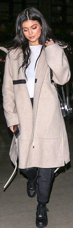 Kylie Jenner: Coat – Celine  Shoes – Nike