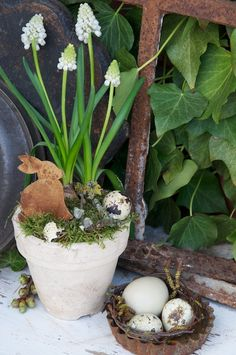 Prim Spring...bunny in a pot.