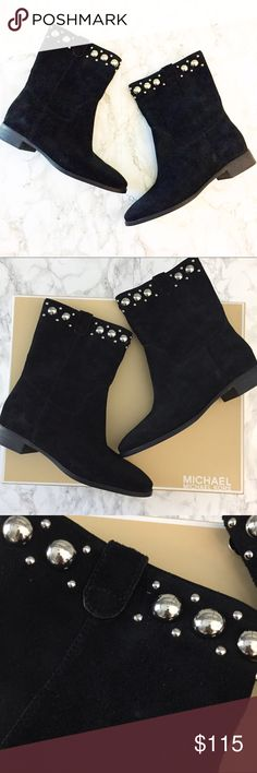 MICHAEL Michael Kors Hayes bootie New in box.  Beautiful black suede booties with silver stud detail.  Fits TTS. .  Reasonable offers welcome. 🍾Note: 20% off 2 or more items from my closet. MICHAEL Michael Kors Shoes Ankle Boots & Booties