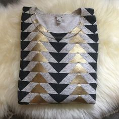 J. Crew Gold Foil Sweatshirt Heathered gray pullover sweatshirt/top with navy blue and gold foil triangle design. Relaxed fit. 87% cotton 13% polyester. Ready for a new home. ❤️no trades. J. Crew Tops Sweatshirts & Hoodies