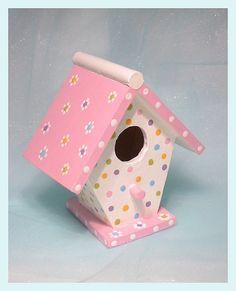 """Birdhouse - Whimsical Pink Pastel Hand-painted Birdhouse - """"Pretty in Pink"""" - vogelhaus Decorative Bird Houses, Bird Houses Painted, Bird Houses Diy, Painted Birdhouses, Rustic Birdhouses, Birdhouse Craft, Birdhouse Designs, Birdhouse Ideas, Bird House Feeder"""