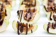 Inside Out Caramel Apples... Apple slices filled with caramel and drizzled with chocolate. Yum!
