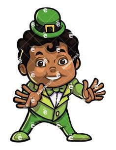 A Young Black Boy Dressed Up As A Leprechaun For Halloween: Royalty-free vector illustration of a young black boy dressed up as a leprechaun for Halloween. He's smiling and ready to go trick or treating! #halloween #costumes #costumes #kids #leprechaun #friendlystock #graphic #vector #art #illustration