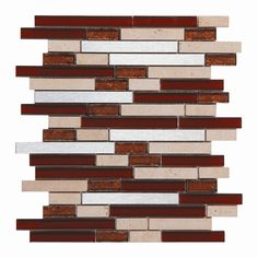 Upscale Design Random Sized Porcelain, Natural Stone, Metal, Glass, Ceramic Mosaic Tile in Brown, Tan and Silver