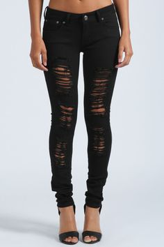 Loren Distressed Rip Knee Skinny Jeans | Ripped, Skinny jeans and ...