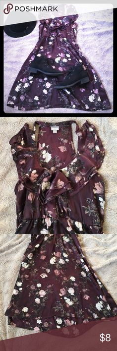 Silky Goth Flower Dress by Converse Deep purple silk-like dress by converse. Can be worn in goth style - wear black boots, tights, makeup. Synced at waist for tight fit. Converse Dresses