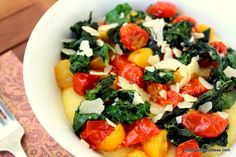 Organic Parmesan Polenta with Curly Kale & Roasted Cherry Tomatoes Recipe