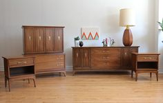 """Mid Century Modern Bedroom Set by Kent Coffey for """"The Wharton"""" Collection. Includes low nine drawer dresser, tall six drawer dresser, Furniture Redo, Vintage Furniture, Six Drawer Dresser, Mid Century Modern Bedroom, Mid-century Modern, Mad, Cabinet, Storage, Collection"""