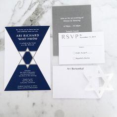 Custom Navy & White Bar Mitzvah Invitation