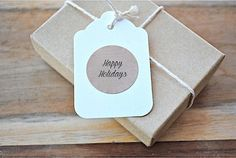Happy Holidays brown kraft envelope seals / stickers / labels