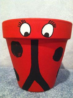 Hand Painted Pot Flower Pot Clay Pot Ladybug by LiveLaughLooloo, $22.00