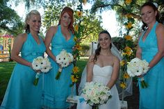 Pool blue and white wedding