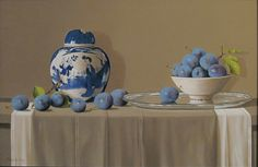 Tony De Wolf - Chinese Vase with Bowl of Plums
