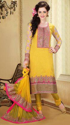 USD 191.04 Yellow Sequins Work Silk Salwar Suit 28457