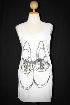 Shoes Graphic White Tank Top Sleeveless Women Art Punk Rock T-Shirt Size L