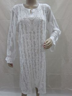 White Embroidered Kurti Tunic Paisley Designer Formal Wear Georgette