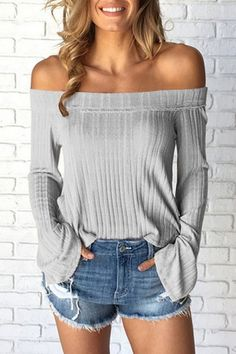 Buy Apricot Solid Color Off Shoulder Flared Sleeves Top in the online store - TopTrendBrand Summer Outfits Women, Fall Outfits, Casual Outfits, Cute Outfits, Party Outfits, Women's Casual, Shoulder Shirts, Off Shoulder Tops, Off Shoulder Top Outfit