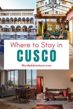 21 of the best hotels and guesthouses in Cusco, Peru. Cusco is one of the most touristic cities in Peru. It's a thrilling city, thank to Quechua traditions, Spanish architecture and modernity. Find where to sleep in Cusco for your next trip to Peru in South America. Backpacking South America, South America Travel, Travel Route, Peru Travel, Ushuaia, Machu Picchu Travel, Visit Colombia, Spanish Architecture, Cusco Peru