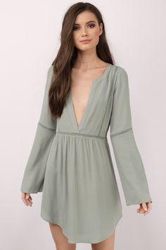 Trina Olive Plunging Shift Dress