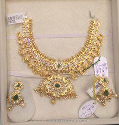 78 Grams Gold Necklace Set, Gold Mango Necklace Set.