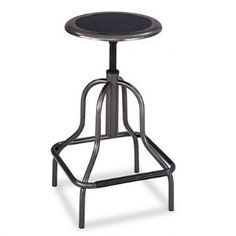 Diesel Backless Industrial Stool - High Base, Black Leather Seat(sold individuall)