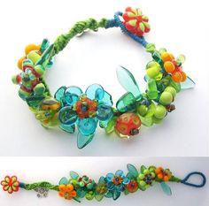 Spring Flowers Knotted Lampwork Bracelet