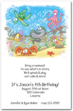 A colorful sea turtle, crab, octopus, fishes and other sealife frolicking under the sea at the bottom of the ocean. The Sea Life Invitations are perfect for a kids birthday invitations, beach party invitations and more.