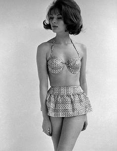 Marie Lise Gres modelling beachwear, photo John French. London, England, 1960s