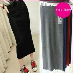 Women High Waist Open Slit Side Split Jersey Stretch Long Pencil Skirt Bodycon #New #StraightPencil