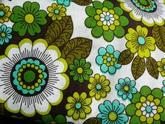 1970s pop flowers fabric