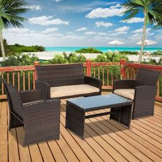 Best Choice Products 4pc Wicker Outdoor Patio Furniture Set Cushioned Seats - Walmart.com